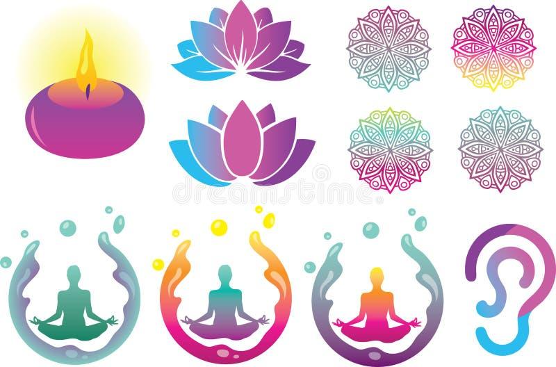 Восточные духовные логотип, иллюстрация и элементы вектора иллюстрация штока
