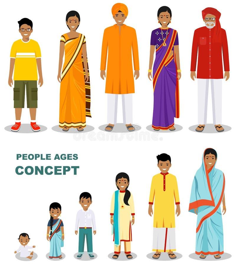Восточные поколения людей на различных возрастах изолированные на белой предпосылке в плоском стиле Индийское вызревание человека иллюстрация вектора