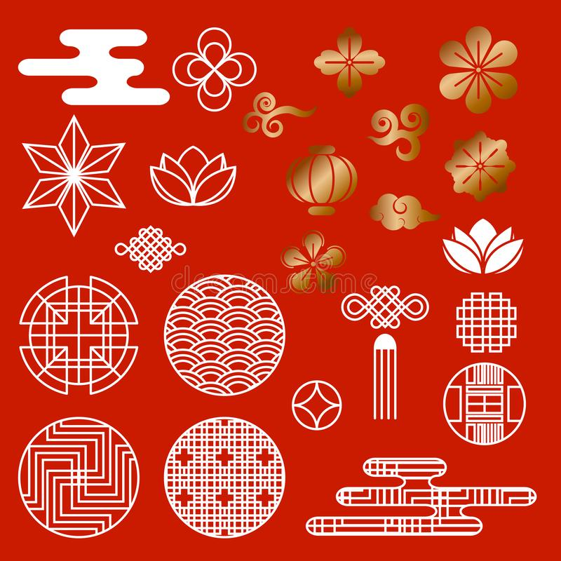 Восточный азиатский традиционный корейский японский комплект вектора элементов украшения картины китайского стиля, предпосылка ин иллюстрация вектора
