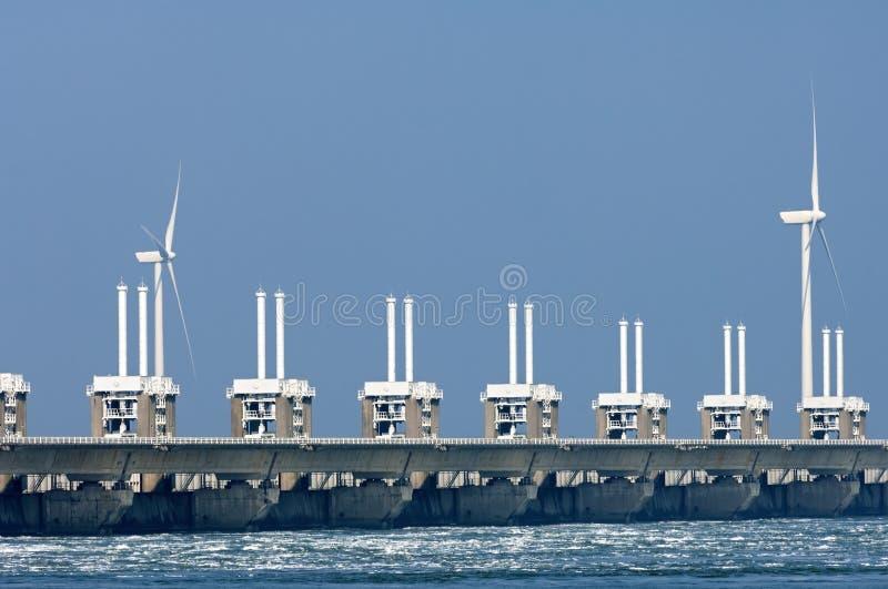 Восточный барьер штормового нагона Шельды, Нидерланды стоковая фотография rf