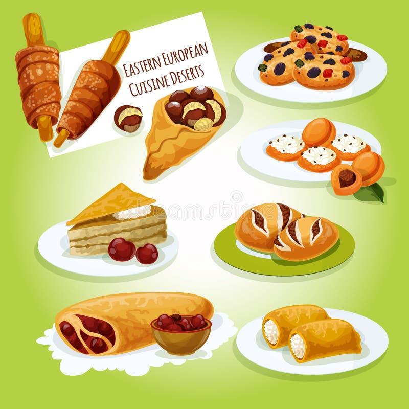 Восточный - европейский значок десертов кухни иллюстрация штока