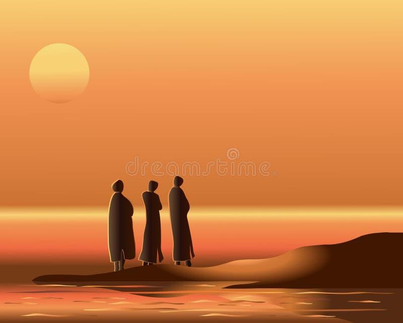 восточный заход солнца бесплатная иллюстрация