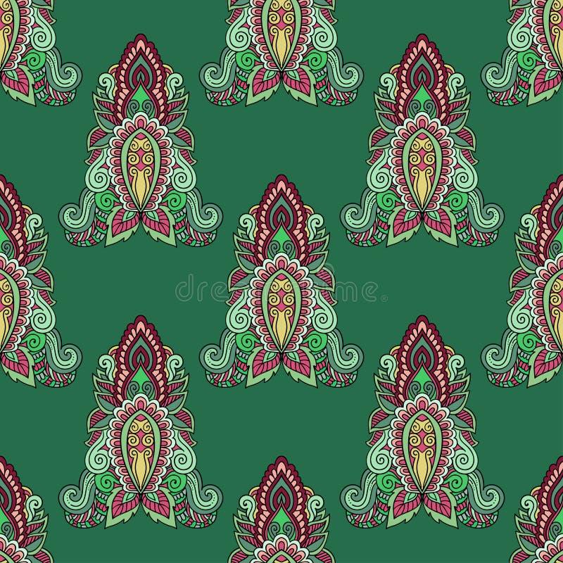 Восточный красочный орнамент с голубыми контурами Предпосылка безшовного вектора богато украшенная Красивая картина мандал иллюстрация штока