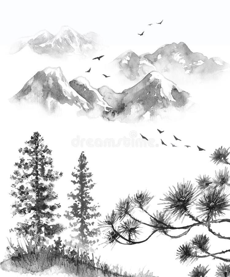 Восточный ландшафт чернил с горами бесплатная иллюстрация