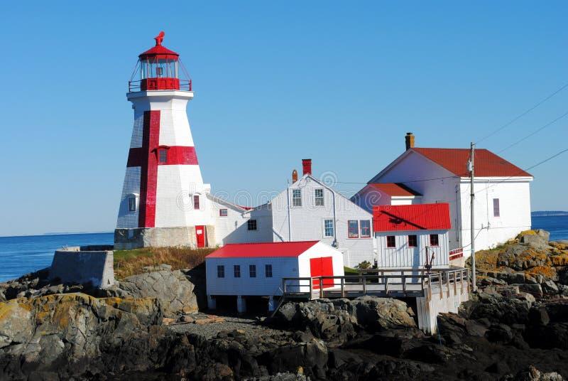 Восточный маяк Quoddy, New Brunswick Канада стоковые фотографии rf