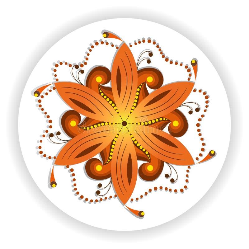 Восточный мотив мандалы круглой завихряясь формы, иллюстрации красочного цветочного узора для украшения в восточном стиле бесплатная иллюстрация