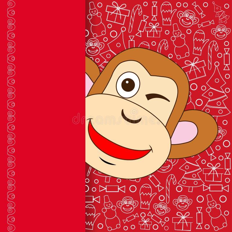 Восточный счастливый китайский Новый Год 2016 год дизайна вектора обезьяны иллюстрация вектора