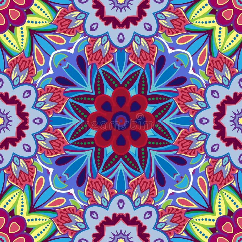 Восточный традиционный флористический орнамент, безшовная картина, дизайн плитки, иллюстрация вектора иллюстрация вектора