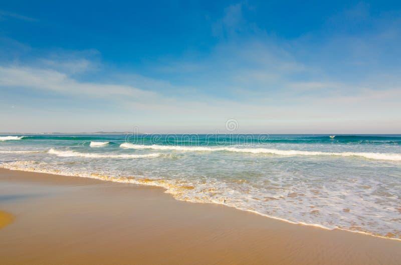 Восхитительный пляж с красивым голубым небом стоковые изображения