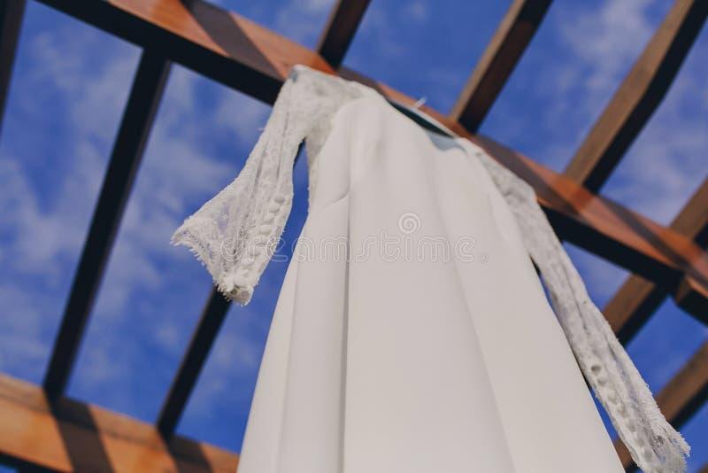 Восхитительное платье свадьбы стоковая фотография