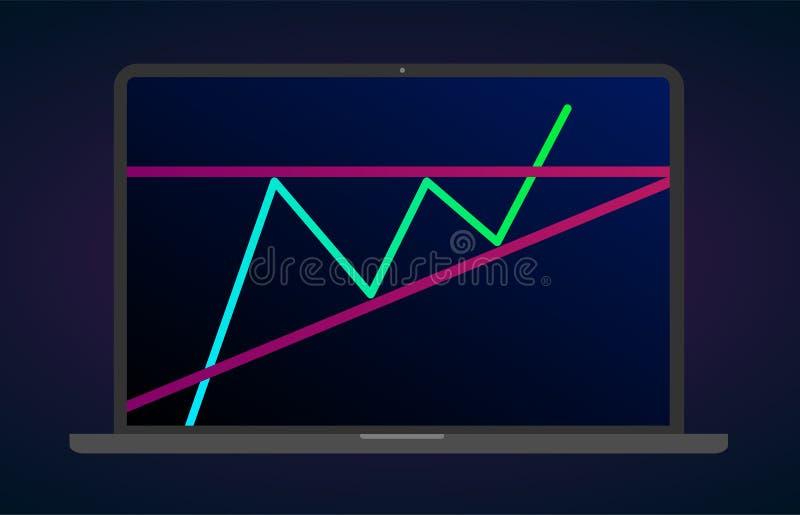 Восходя значок ноутбука бычьих проламываний треугольника плоский Запас вектора и диаграмма обменом cryptocurrency, аналитик валют иллюстрация вектора
