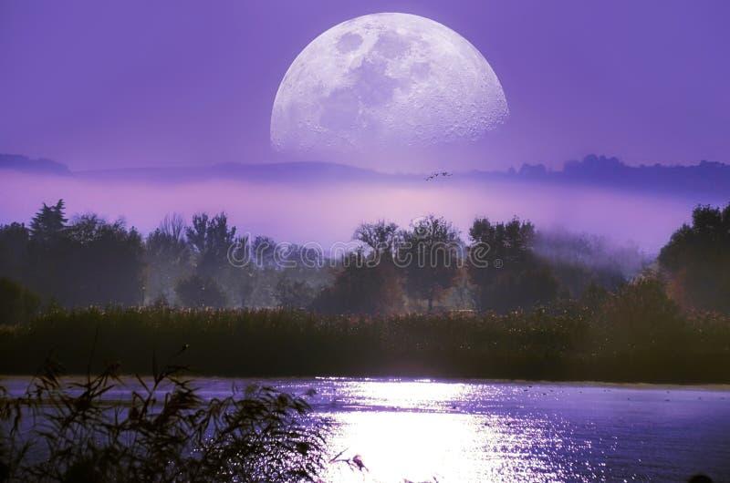 Восход луны над рекой стоковые фото