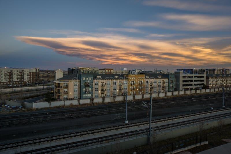 Восход солнца в районе реки ` s Денвера северном стоковое изображение