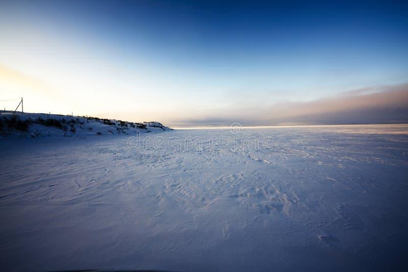 Восход солнца в icefield около арктики стоковое фото rf