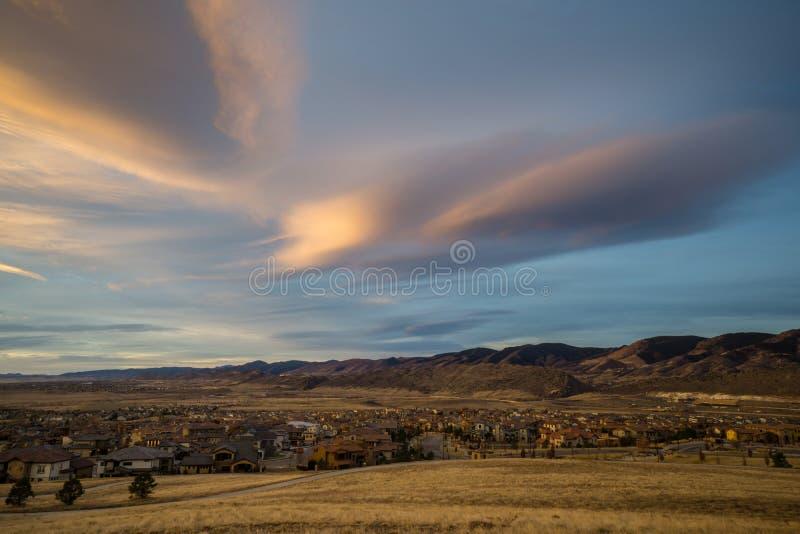 Восход солнца в Lakewood, Колорадо стоковые фото