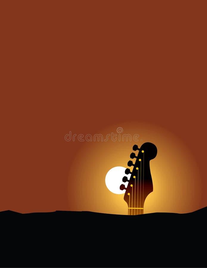 восход солнца гитары иллюстрация вектора
