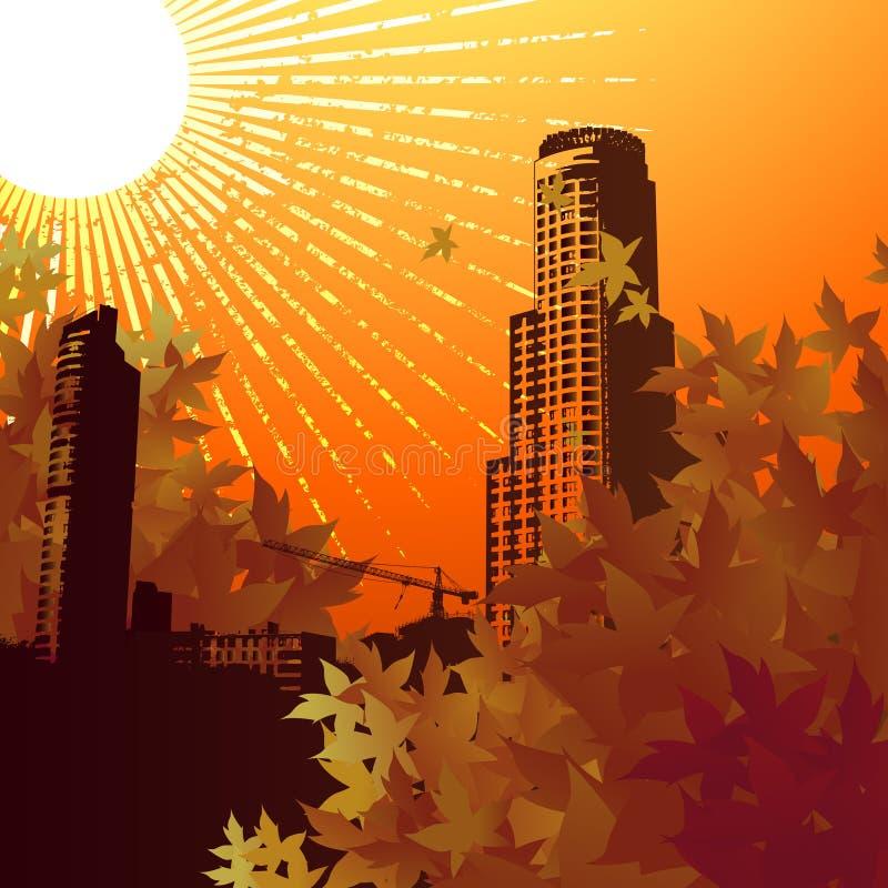 восход солнца города иллюстрация вектора