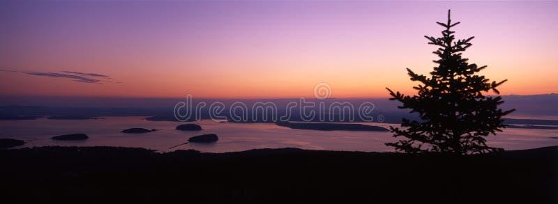 восход солнца горы cadillac Мейна стоковые изображения rf