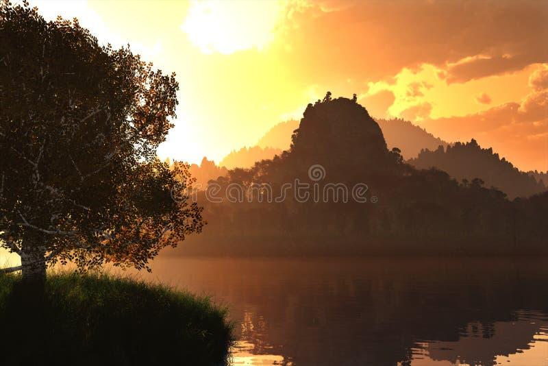Восход солнца захода солнца на озере 3D представляет 1 бесплатная иллюстрация