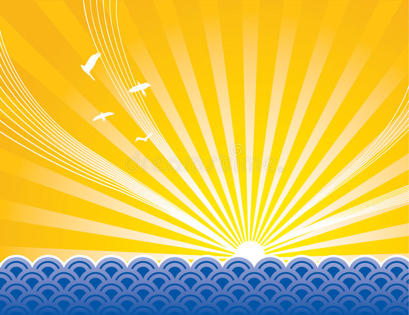 восход солнца моря иллюстрация вектора