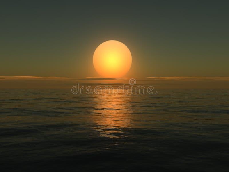 восход солнца моря 3d иллюстрация вектора