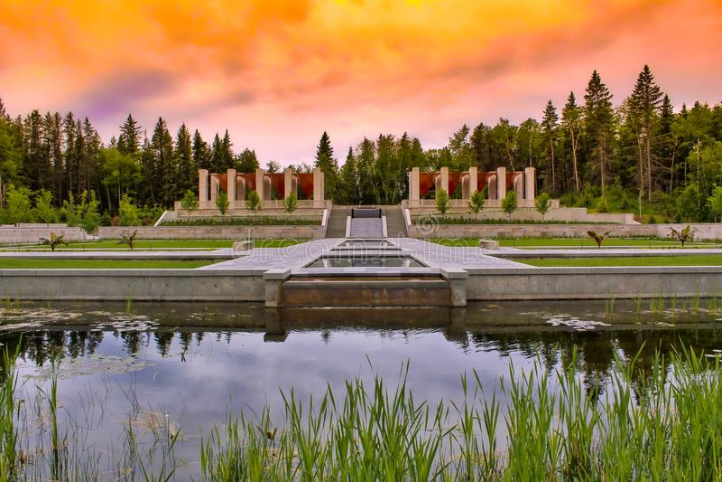 Восход солнца над ботаническими садами стоковое изображение