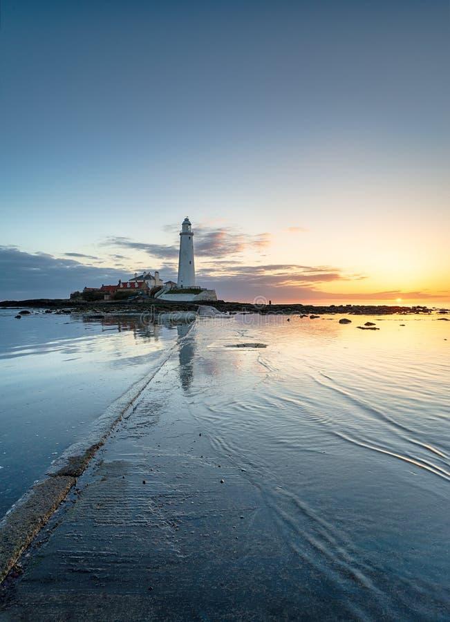 Восход солнца над заливом Whitley стоковая фотография rf