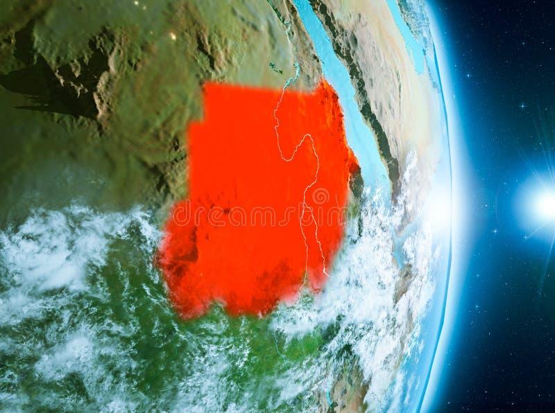 Восход солнца над Суданом на земле планеты стоковая фотография rf