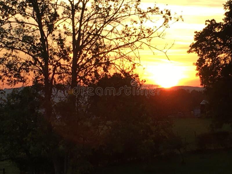 Восход солнца над Glascoed, Уэльс стоковые фотографии rf