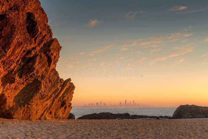 Восход солнца над Gold Coast стоковое фото rf