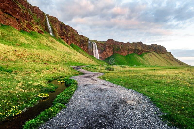 Восход солнца на водопаде Seljalandfoss стоковое фото rf