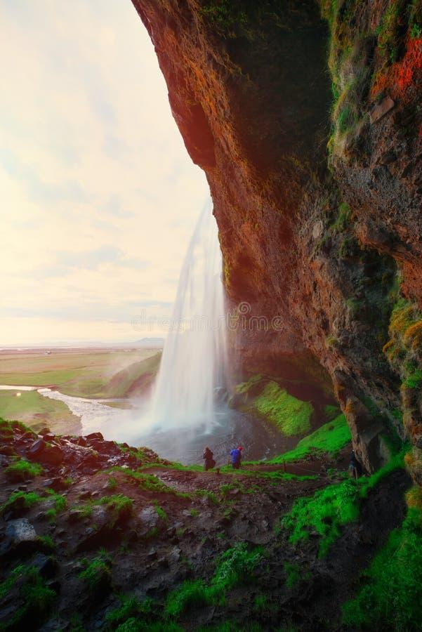 Восход солнца на водопаде Seljalandfoss стоковое изображение