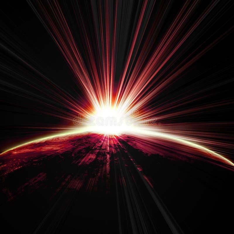 Восход солнца на земле планеты бесплатная иллюстрация