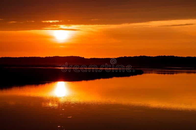 Восход солнца на острове Assateague стоковая фотография rf