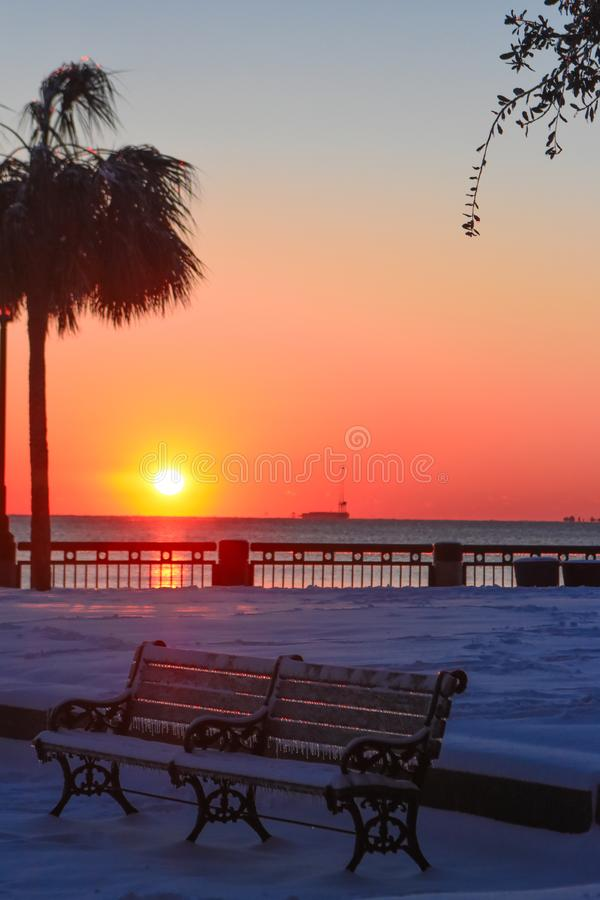 Восход солнца на парке портового района, Чарлстоне, SC стоковое изображение
