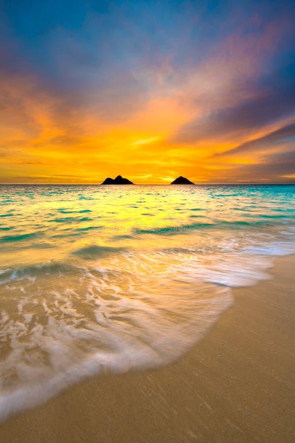 Восход солнца на пляже Lanikai в Kailua Оаху Гаваи стоковые фотографии rf
