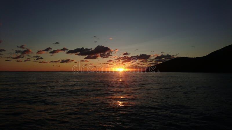 Восход солнца на Эоловых островах стоковое фото