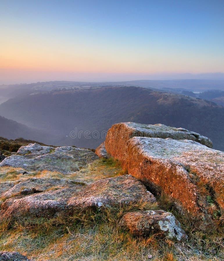 восход солнца пастели dartmoor стоковое изображение