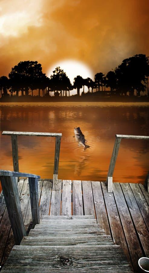 восход солнца рыболовства стыковки иллюстрация вектора