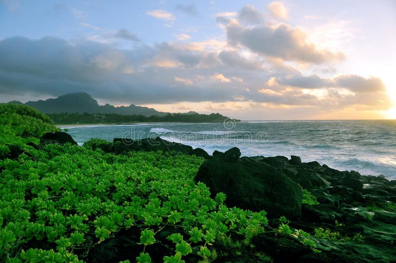 восход солнца kauai стоковое изображение