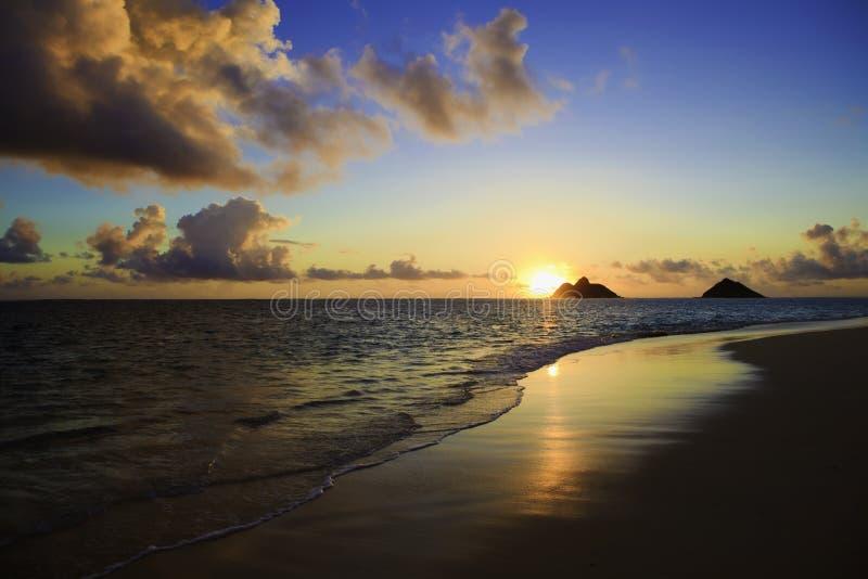 восход солнца lanikai пляжа стоковое изображение rf