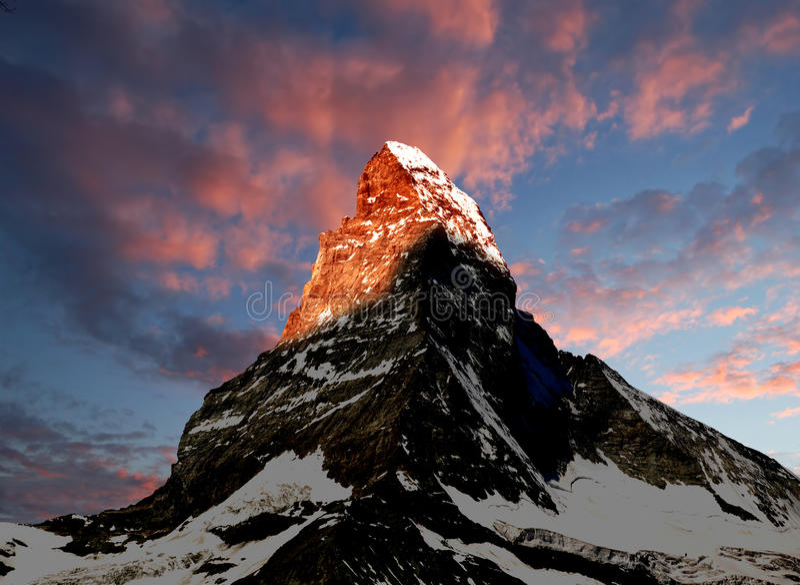 восход солнца matterhorn стоковые фото