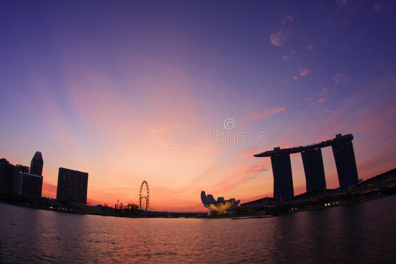восход солнца singapore Марины залива стоковые фотографии rf