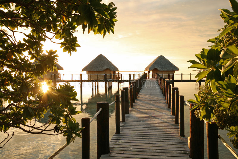 восход солнца tahitian стоковые изображения rf