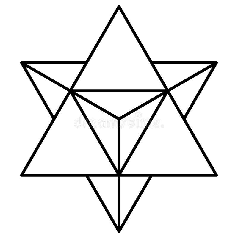 Восхождение активации тела света merkaba тетратоэдра звезды иллюстрация штока