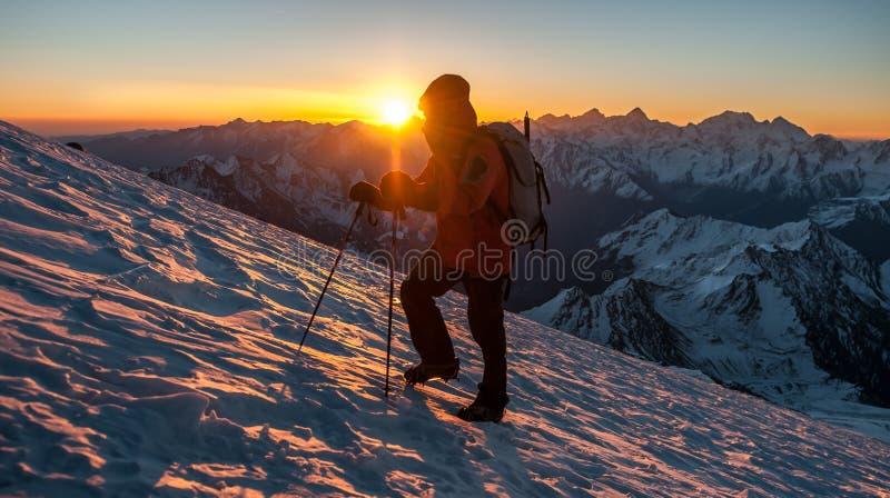 Восхождение, гора, наклон, снег, подъем, ледник стоковое фото