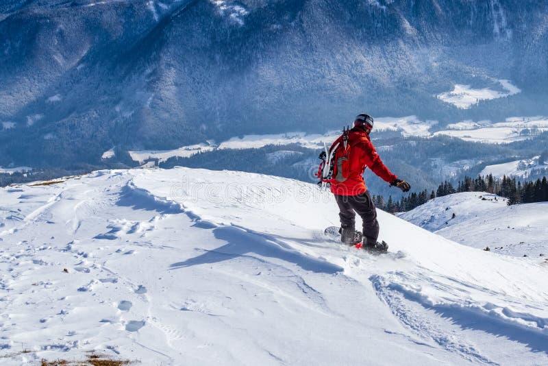 Восхождение на борт snowboarder по пересеченной местностей от вершины горы стоковая фотография