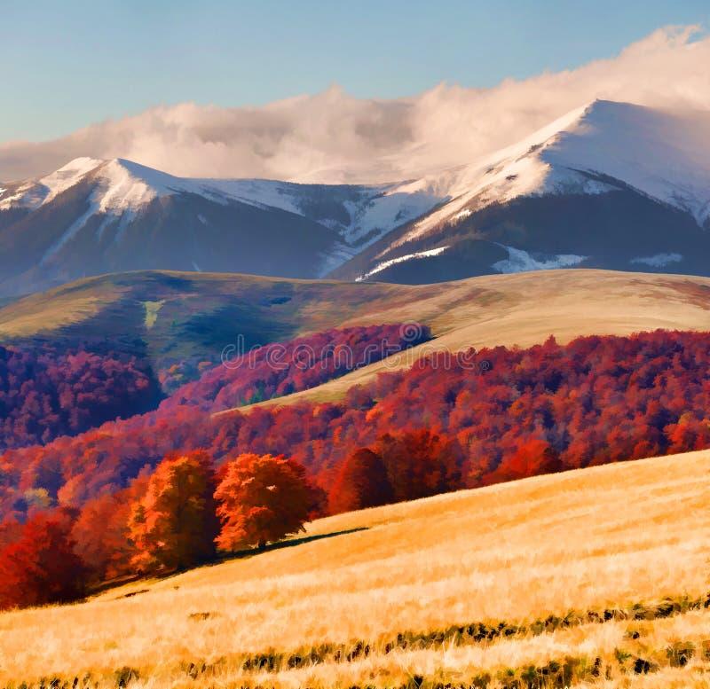 восход солнца гор ландшафта осени цветастый стоковые фото