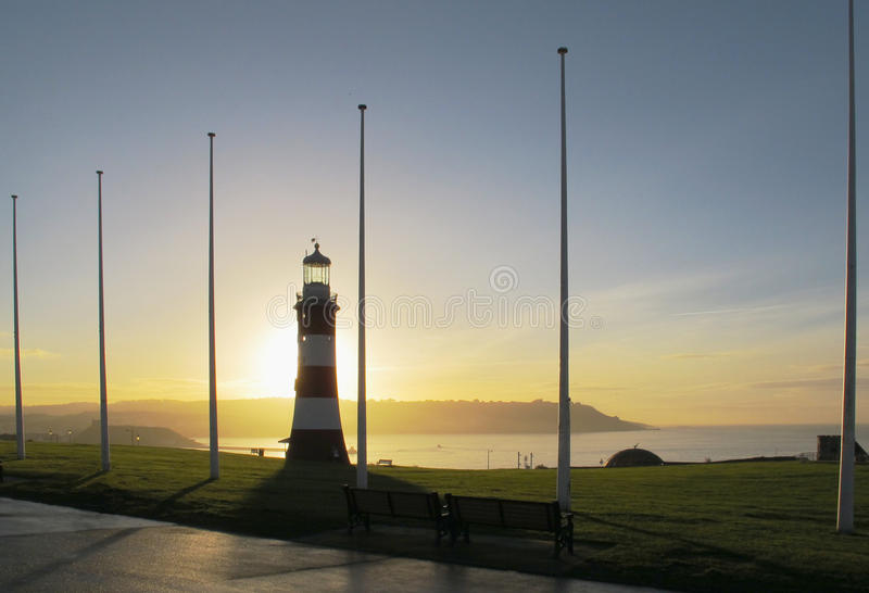 Восход солнца за башней smeaton стоковое фото rf