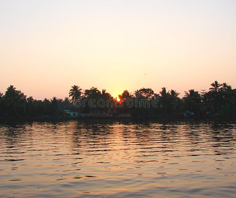 Восход солнца за деревьями над каналом подпора, Кералой, Индией стоковое изображение rf